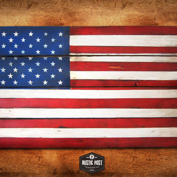 317ddb0d3f9 Patriotic Rustic Planked Wood Wall Art. US Flag