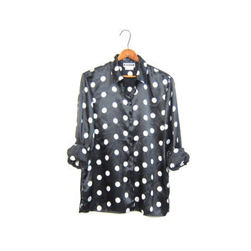 Retro 80s POLKA DOT Blouse Long Sleeve Black White Button Up Shirt Mod School Girl Modern Hipster Slouchy Preppy Womens Medium
