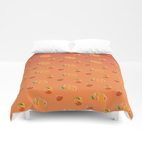 Peach Pattern Duvet Cover by Paula Oliveira