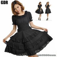 FreeShip X GOTHIC PUNK LOLITA ALICE 81120 BLACK DRESS ONE PIECE S-L