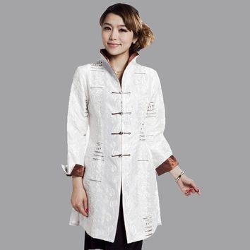 White Women Silk Satin Jacket Vintage Chinese Style Embroidery Long Coat Mujer Chaqueta Size S M L XL XXL XXXL 4XL 5XL Mny001-A