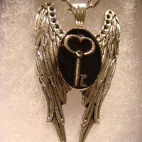 Tiny Skeleton Key Angel Wing Necklace in Antique Silver  (1227)