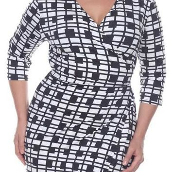 Plus Size Mariah Plaid Print Wrap Dress Short Cover Up 3/4 Sleeves