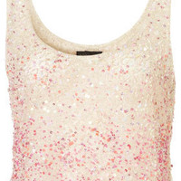 Ombre Multi Sequin Vest - Tops  - Clothing  - Topshop