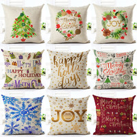 Cushion Cover Merry Christmas Letter Printing Style Christmas Gifts Christmas Tree Throw Pillow Pillowcase Sofa Home Decorative