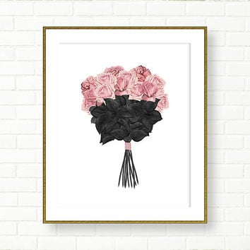 Roses Bouquet Art Print, Pink Black, INSTANT DOWNLOAD, Printable Art, Vanity Decor,  Glam Bathroom ,Fashion Illustration, Wedding, Floral