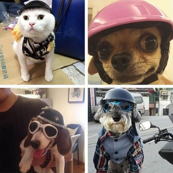 Handsome Biker hat Pets Helmets Ridding Cap ABS Doggie Puppy Motorcycle Protect for Sports Dog cat Costumes Accessories cool 35