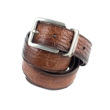 Brunello Cucinelli Ombre Cognac Brown Leather Embossed Belt