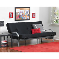 Walmart: Mainstays Metal Arm Futon with Mattress, Black