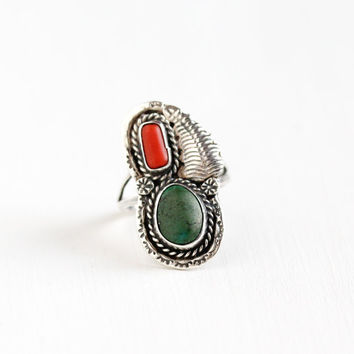 Vintage Sterling Silver Green Turquoise & Coral Ring - Size 9 Retro 1960s Native American Tribal Southwestern Flower Leaf Nature Jewelry