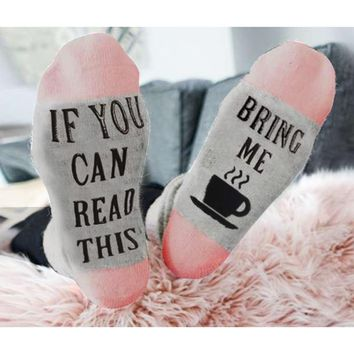 Custom wine socks If You can read this Bring Me a Glass of Wine Socks autumn spring fall Dobby Halloween Sock Dropshipping