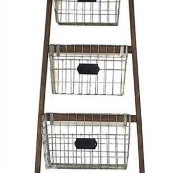 Wood Ladder Wire Baskets