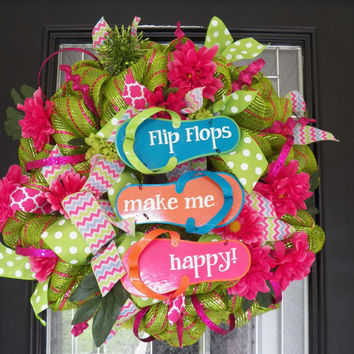 Flip-Flop Deco Mesh Wreath, Summer Wreath, Spring Wreath, Door Hanger, Ready to Ship