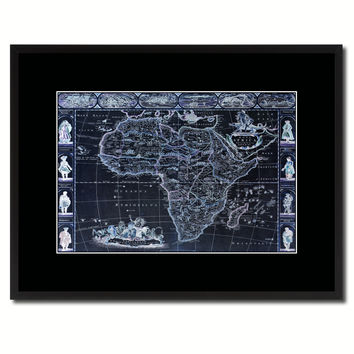 Africa Vintage Vivid Color Map Canvas Print, Picture Frame Home Decor Wall Art Office Decoration Gift Ideas