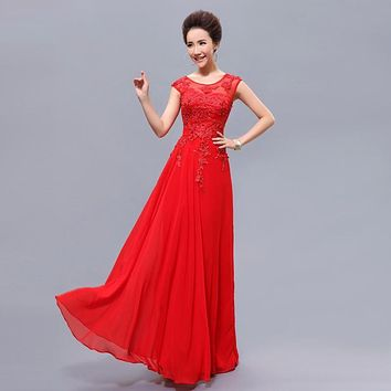 Cheap Long Red Bridesmaid Dresses with Beading Elegant Gown Formal Bridal Prom Party Dress 2017 New Women Under 50 dress plus
