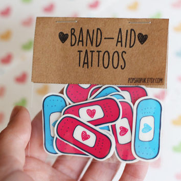 Band-Aid Tattoos ~ Healing Hearts ~ Love & Get Better Bandages ~ Band-Aid Uplifting Tattoos ~ Positive Hearts Plasters ~ Stocking stuffer
