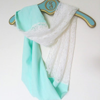 Mint with Ivory Lace Infinite Scarf