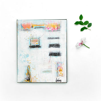 Mixed Media Art Original Painting on 8x10 canvas - Original Abstract Art - Modern White Wall art