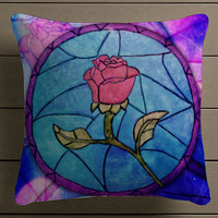 Rose Beauty and the Beast Square Pillow Case Custom Zippered Pillow Case one side and two side