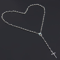 NEW catholic cross pendant Goddess silver/gold plated Trendy long rosary necklace  for mens&women 6mm bead fashion