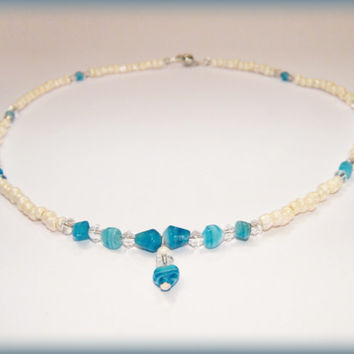 Aqua Beachy Necklace - cream, aqua and sparkly glass beads with magnetic clasp