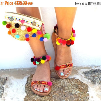 "ONE WEEK SALE Boho Sandals, friendships, semipresius beads & colourful pom pom, Handmade Sandals, ""lollipop""  hippie lsandals, Bohemian sand"