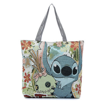Fashion 3D Printing Cartoon Stitch Canvas Tote Bag Flowers Women Handbag Shoulder Bags Women Shopping Bags Beach Bag