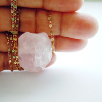 Raw Rose Quartz Necklace - Rough Gemstone Pendant