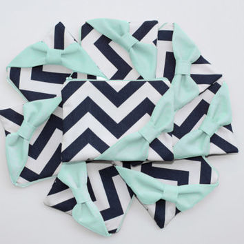 Bridesmaid Gift Set / Bachelorette Favors - Navy Chevron Mint Bow - Customizable Wedding Cosmetic Cases - Choose Quantity and Bow Style