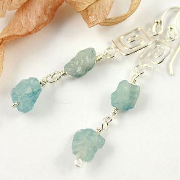 Rough Aquamarine Earrings Sterling Silver  by LiansElegance