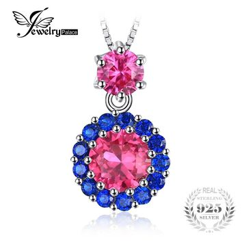 JewelryPalace Round 2ct Created Red Ruby & Blue Spinel Pendants For Women 925 Sterling Silver Fine Jewelry Not Include A Chain