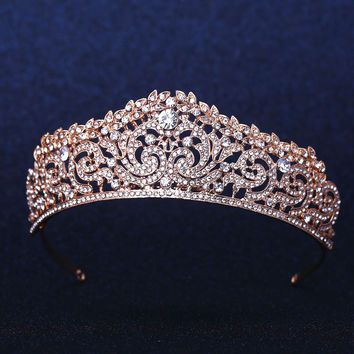 Rose Gold Plated Wedding Bridal Bridesmaid Flower Girls Crystal tiara Rhinestone crown / headband