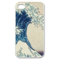 Custom Personalized The Great Wave off Kanagawa Cover Hard Plastic iPhone 4 4S Case