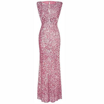 Sequins Sleeveless Scoop Hollow Out Long Slim Party Dress