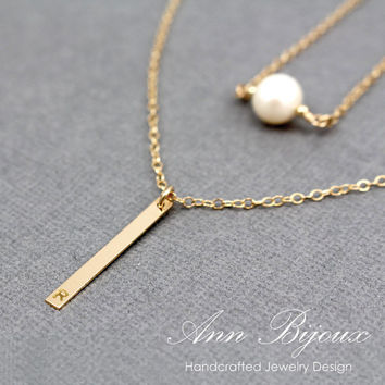 Gold Filled Vertical Bar Minimalist Necklace, Dainty Gold Filled Pearl Necklace, Perfect for layered Necklace, Layering Necklace, Mommy Gift