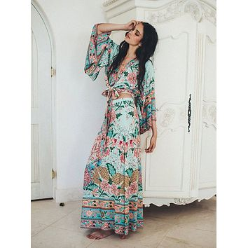 "Spell And The Gypsy For Free People ""Lotus"" Tie Front Kimono Top And Double Slit Maxi Skirt Set Color Peacock Size Small"