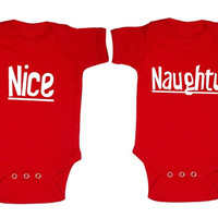 Nice and naughty twin baby Christmas Onesuit. Matching twin Christmas Onesuit. Twin Christmas Onesuit. Twin Xmas outfits. Twin holiday Onesuit
