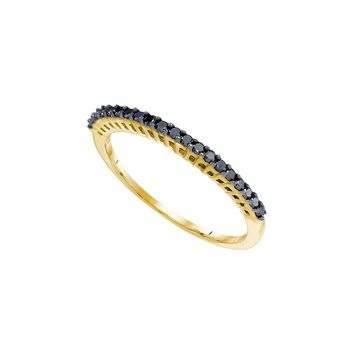 10k Yellow Gold Black Color Enhanced Pave-set Diamond Slender Womens Anniversary Wedding Band 1/4 Cttw