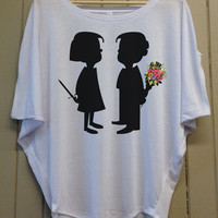Love is Dangerous - Dolman Short Sleeve - Cute, Stylish and Comfortable - Heather White Top Shirt - 306