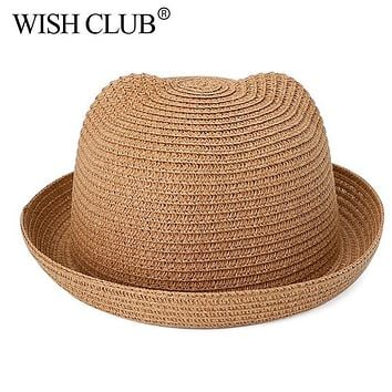 WISH CLUB Lovely Baby Straw Hats For Girls Boys Character Cat Ears Decoration Sun Hat Kids Solid Beach Caps Children Summer Cap