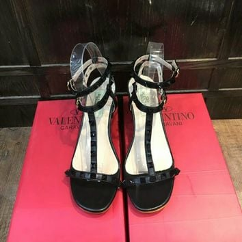 """Valentino"" Women Fashion All-match Rivet Ankle Strap Open Toe Sandals Block Heels Shoes"