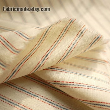 Japanese Stripe Cotton Fabric - Natural Beige Cotton With Red Blue Stripe Marine Navy Style 1/2 Yard