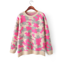 Korean Camouflage Wool Tops Winter Plus Size Pullover Sweater [9176487492]