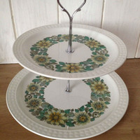 Yellow green Retro Pontesa ironstone two tier cupcake stand, for afternoon tea party, weddings centerpieces. VBB104