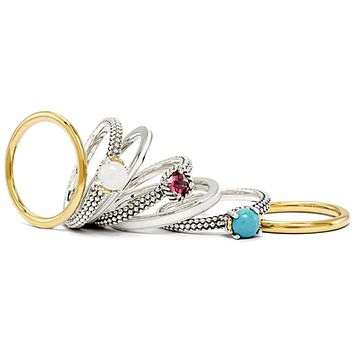 Sterling Silver & 14K Gold Plated Glamour Stackable 7 Ring Set