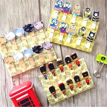 10pcs/Lot Cartoon animals wooden clips with hemp rope bag clips paper clip wood pegs