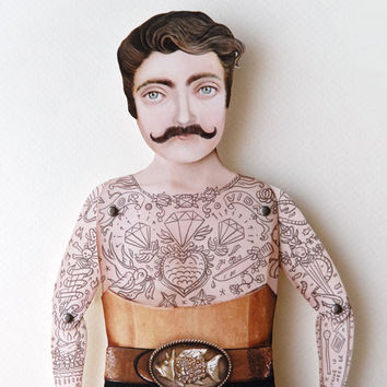 Victorian Tattooed Tough Guy Paper Puppet by crankbunny on Etsy