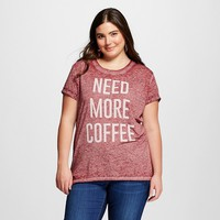 Women's Plus Need More Coffee Graphic Tee Burgundy - L.O.L. Vintage