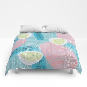 Retro Baby Blue Comforters by mirimo