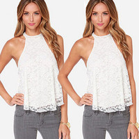 Halter Button Lace Floral Top